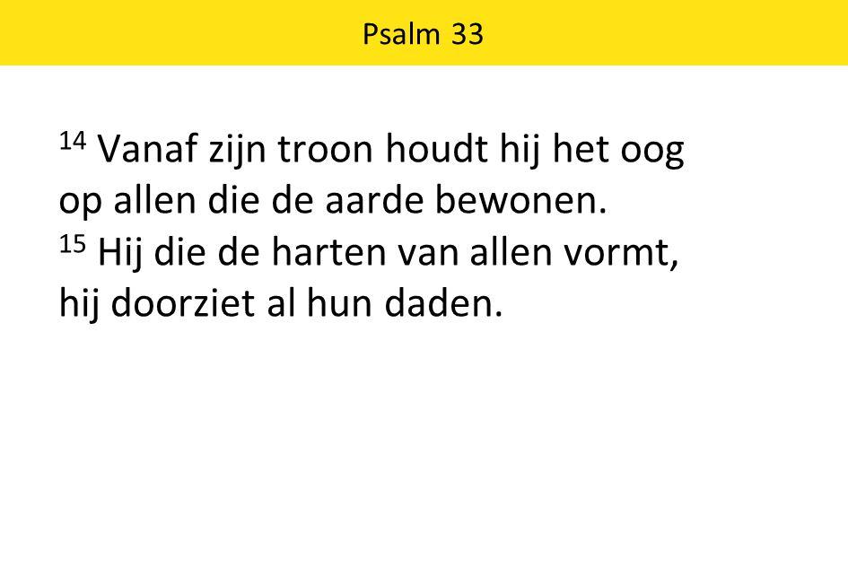 Psalm 33 14 Vanaf zijn troon houdt hij het oog op allen die de aarde bewonen.