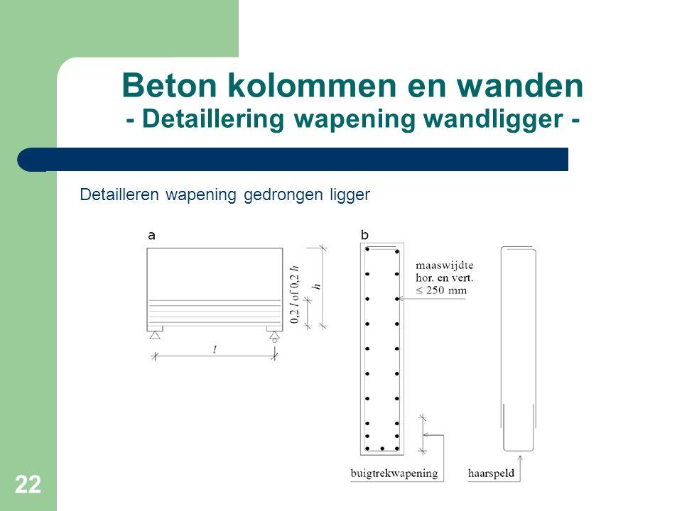 Beton kolommen en wanden - Detaillering wapening wandligger -