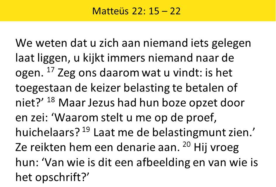 Matteüs 22: 15 – 22