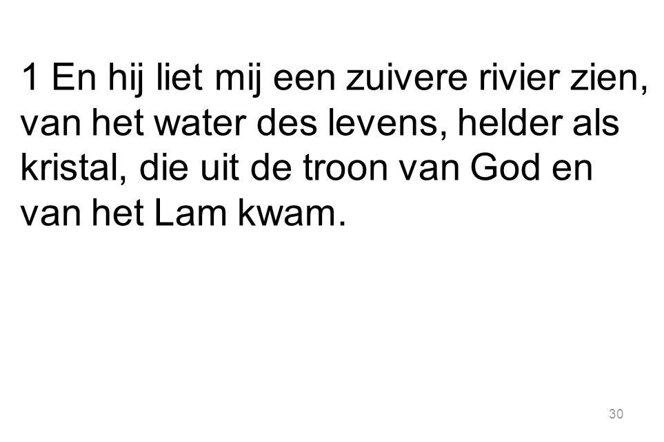 1 En hij liet mij een zuivere rivier zien, van het water des levens, helder als kristal, die uit de troon van God en van het Lam kwam.