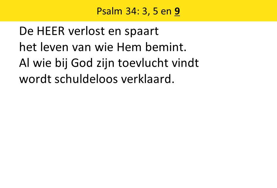 Psalm 34: 3, 5 en 9 De HEER verlost en spaart het leven van wie Hem bemint.