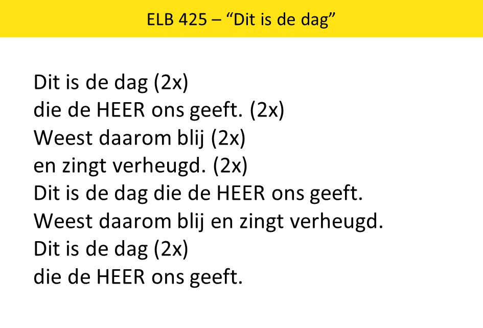 ELB 425 – Dit is de dag