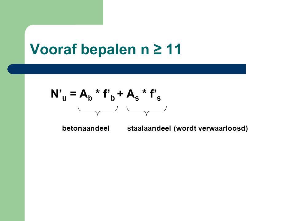 Vooraf bepalen n ≥ 11 N'u = Ab * f'b + As * f's betonaandeel