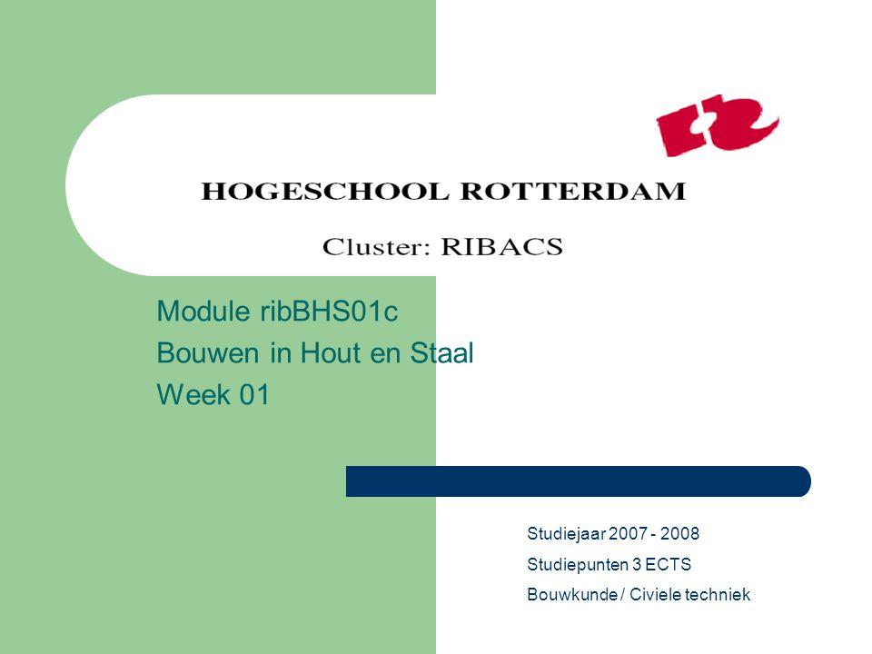 Module ribBHS01c Bouwen in Hout en Staal Week 01