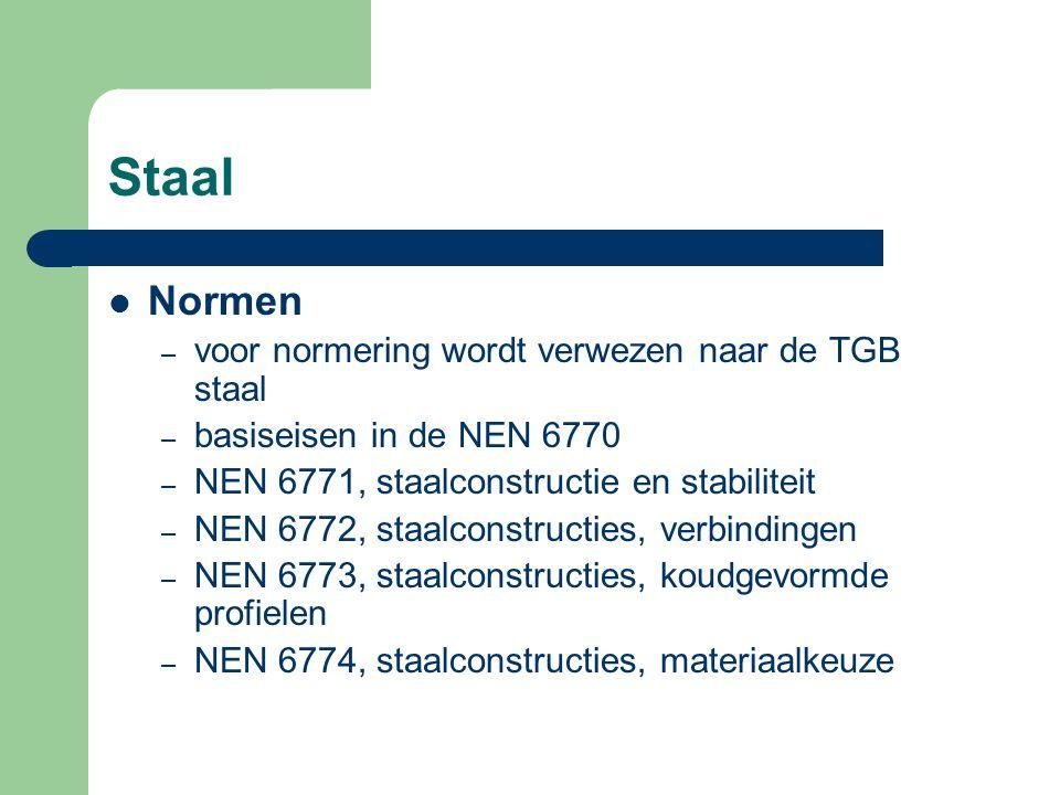 Staal Normen voor normering wordt verwezen naar de TGB staal