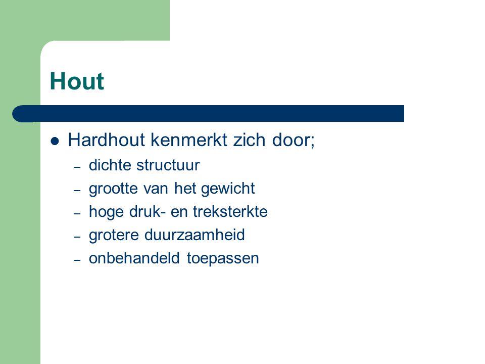 Hout Hardhout kenmerkt zich door; dichte structuur