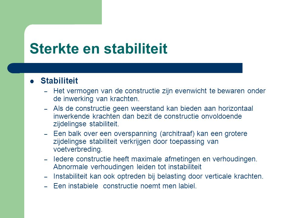 Sterkte en stabiliteit