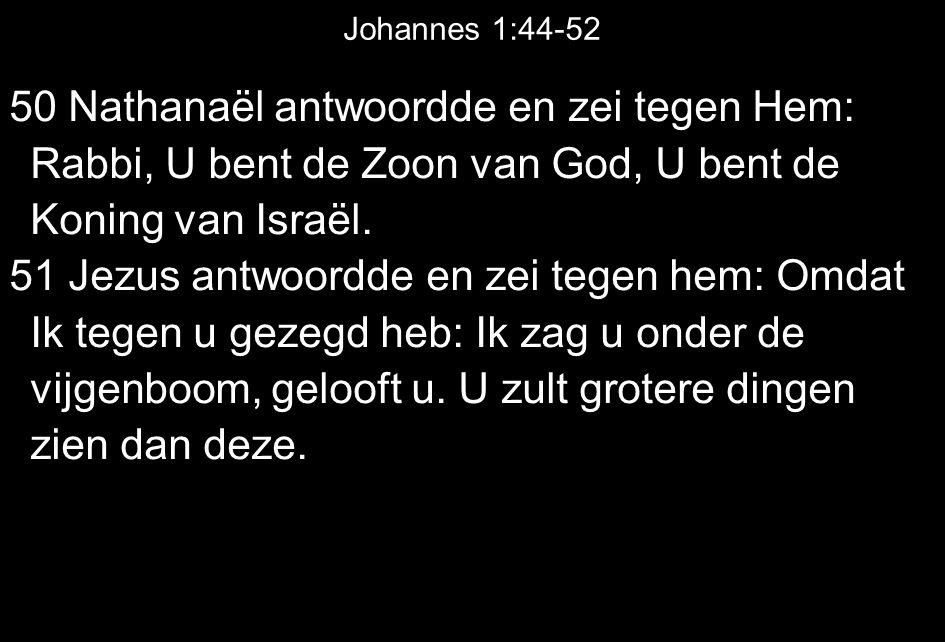 Johannes 1:44-52 50 Nathanaël antwoordde en zei tegen Hem: Rabbi, U bent de Zoon van God, U bent de Koning van Israël.