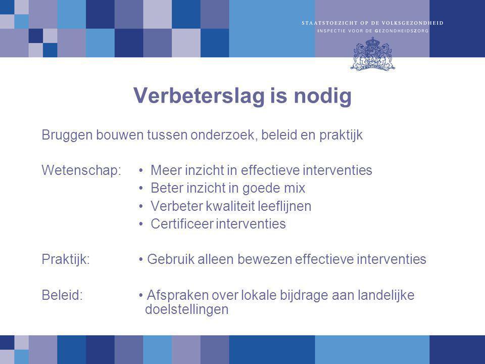 Verbeterslag is nodig Bruggen bouwen tussen onderzoek, beleid en praktijk. Wetenschap: • Meer inzicht in effectieve interventies.