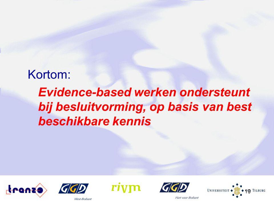 Kortom: Evidence-based werken ondersteunt bij besluitvorming, op basis van best beschikbare kennis