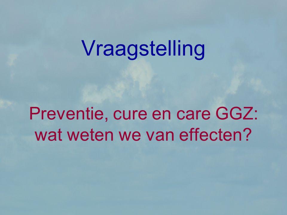 Vraagstelling Preventie, cure en care GGZ: wat weten we van effecten