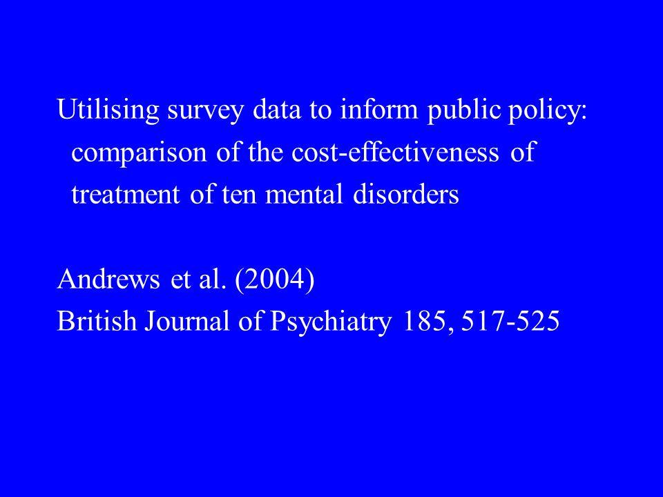 Utilising survey data to inform public policy: