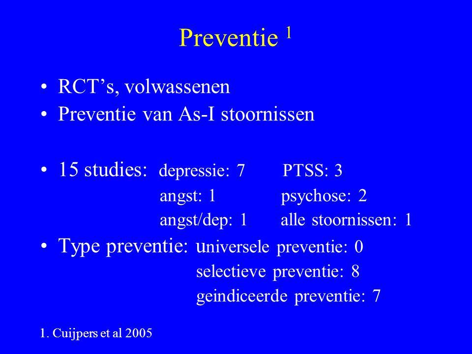 Preventie 1 RCT's, volwassenen Preventie van As-I stoornissen