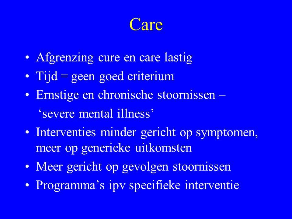 Care Afgrenzing cure en care lastig Tijd = geen goed criterium