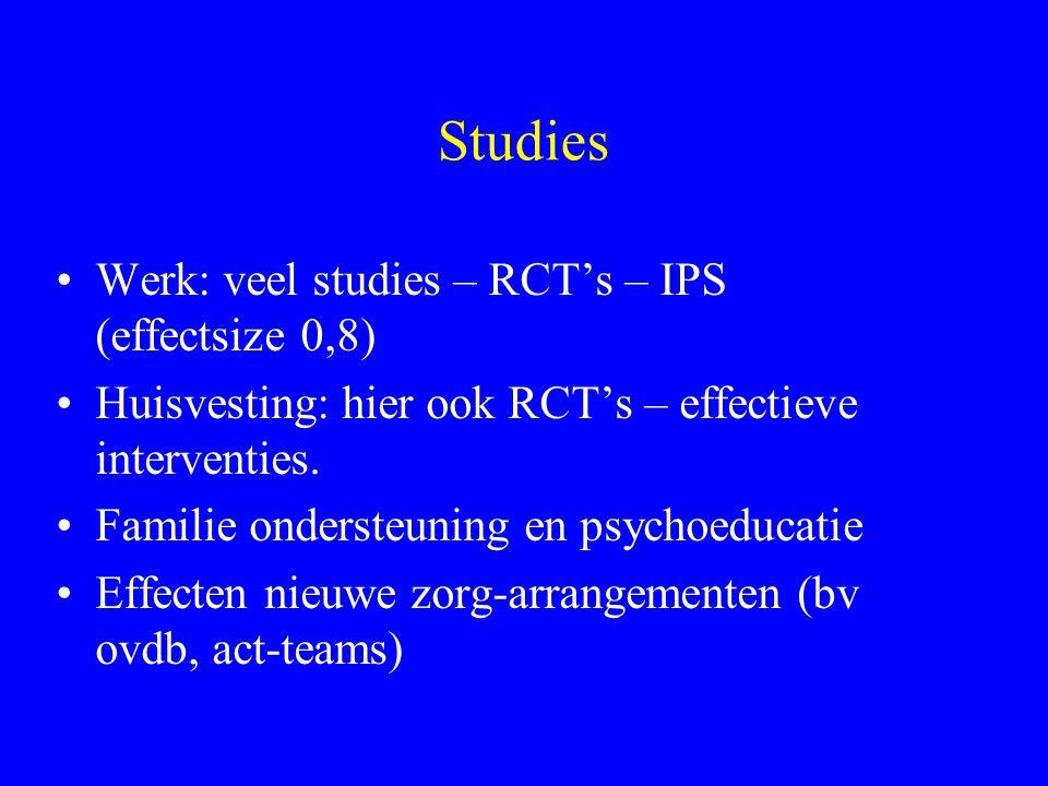 Studies Werk: veel studies – RCT's – IPS (effectsize 0,8)