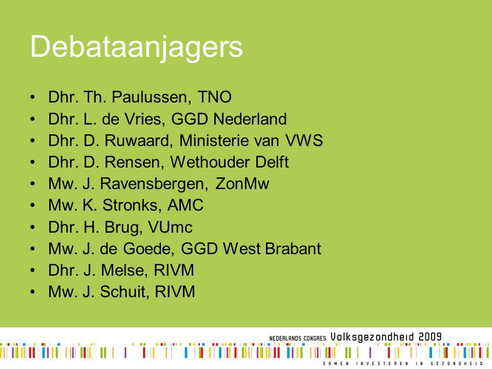 Debataanjagers Dhr. Th. Paulussen, TNO Dhr. L. de Vries, GGD Nederland