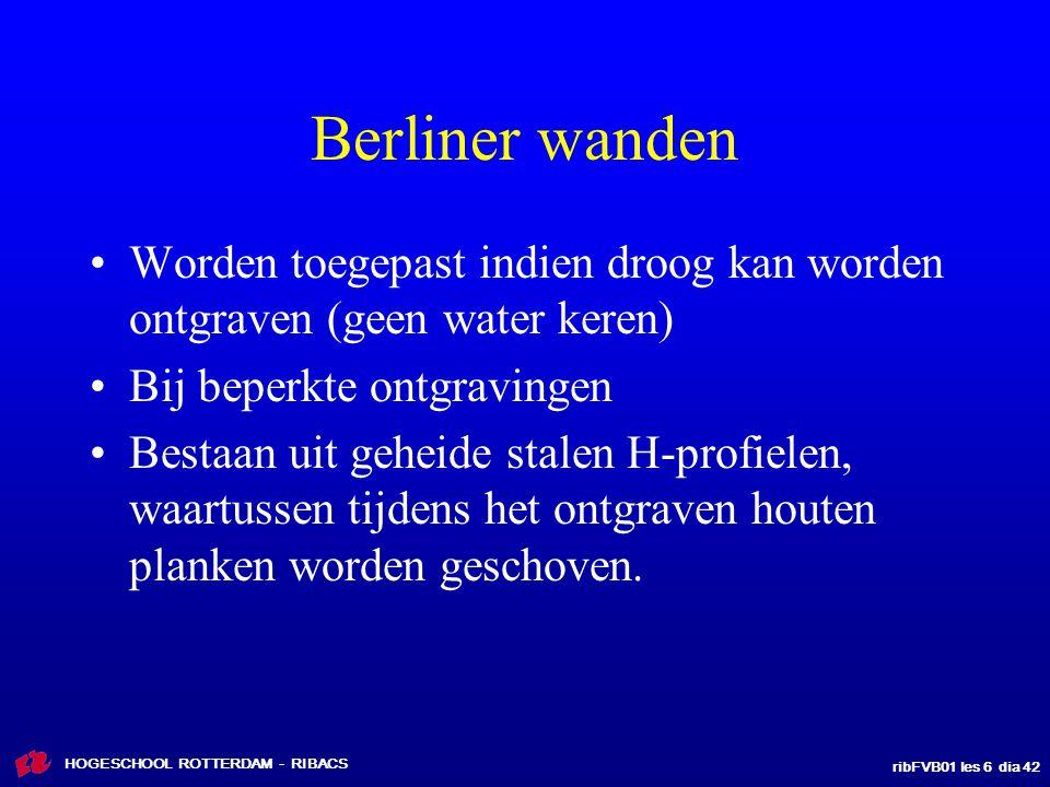 Berliner wanden Worden toegepast indien droog kan worden ontgraven (geen water keren) Bij beperkte ontgravingen.