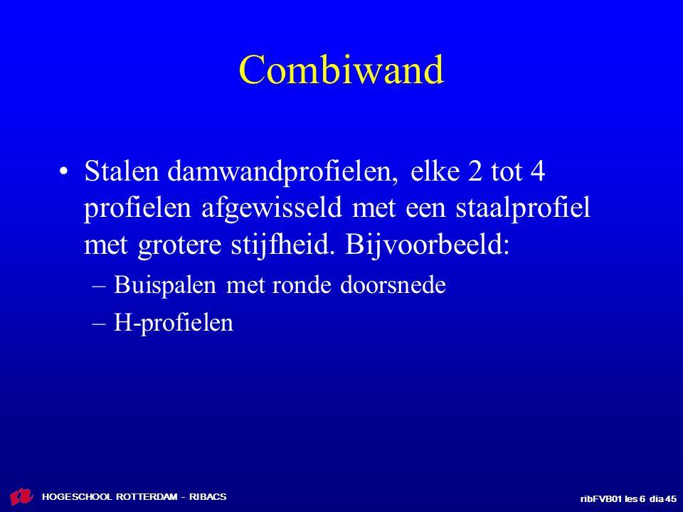 Combiwand Stalen damwandprofielen, elke 2 tot 4 profielen afgewisseld met een staalprofiel met grotere stijfheid. Bijvoorbeeld: