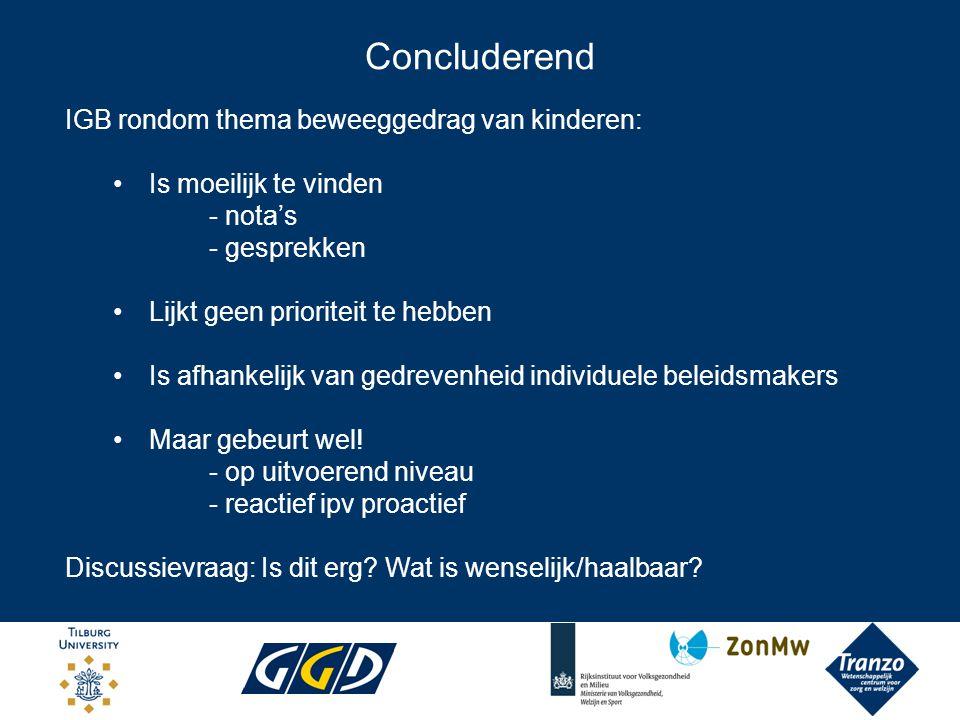 Concluderend IGB rondom thema beweeggedrag van kinderen: