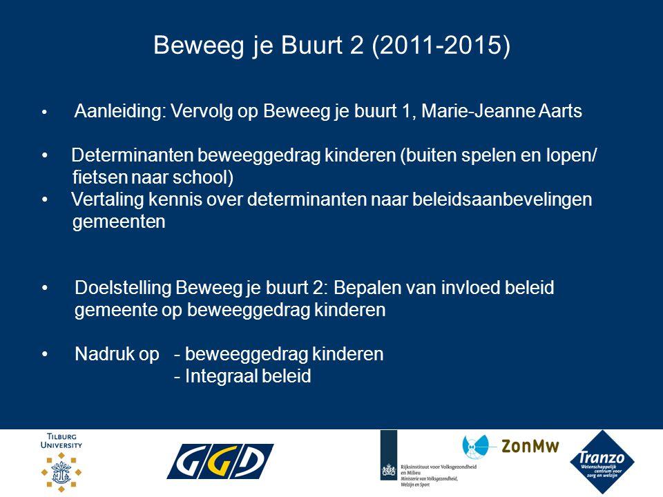 Beweeg je Buurt 2 (2011-2015) Aanleiding: Vervolg op Beweeg je buurt 1, Marie-Jeanne Aarts.