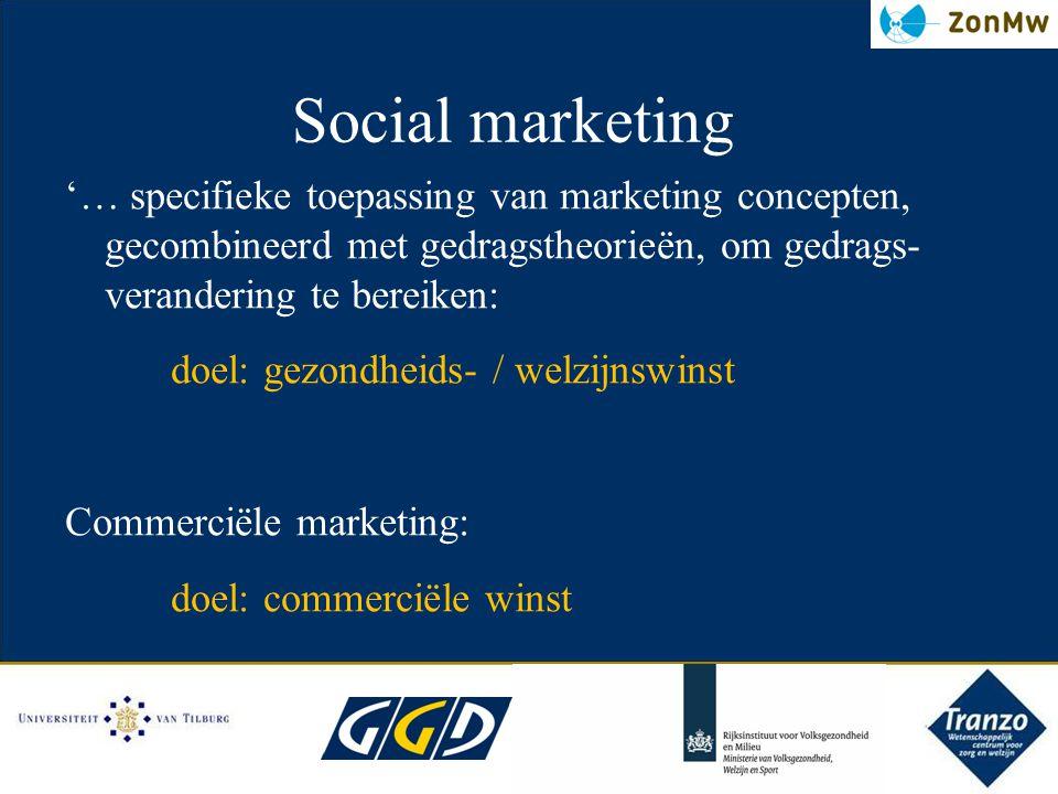 Social marketing '… specifieke toepassing van marketing concepten, gecombineerd met gedragstheorieёn, om gedrags- verandering te bereiken: