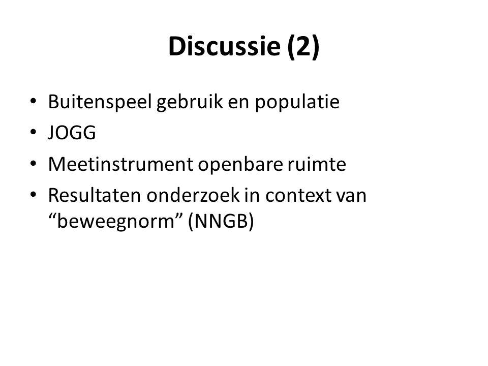 Discussie (2) Buitenspeel gebruik en populatie JOGG