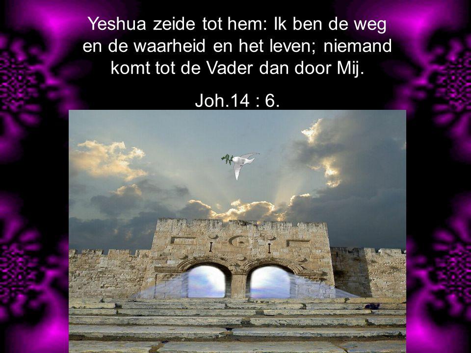 Yeshua zeide tot hem: Ik ben de weg en de waarheid en het leven; niemand komt tot de Vader dan door Mij.