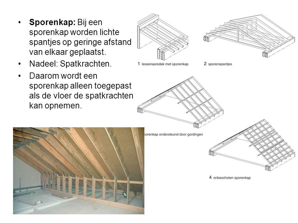 Sporenkap: Bij een sporenkap worden lichte spantjes op geringe afstand van elkaar geplaatst.