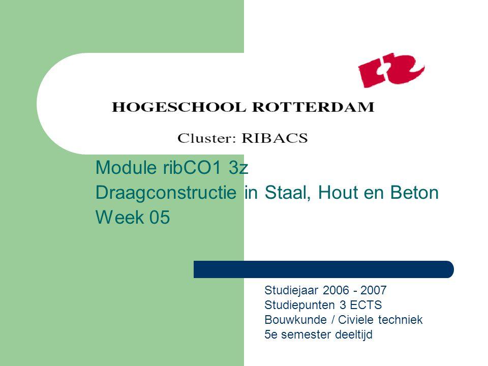 Module ribCO1 3z Draagconstructie in Staal, Hout en Beton Week 05