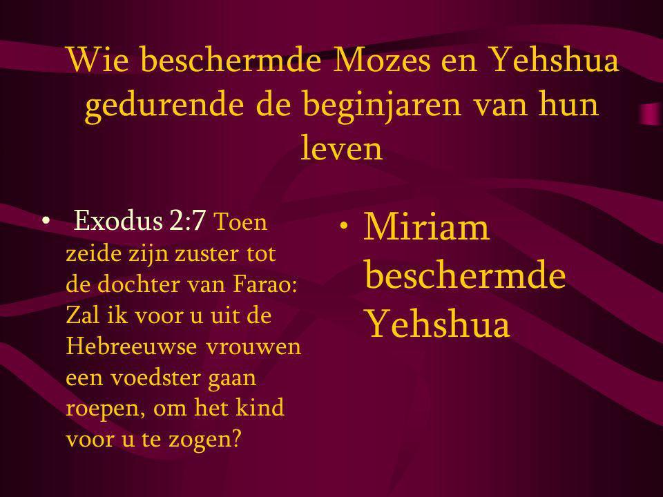 Wie beschermde Mozes en Yehshua gedurende de beginjaren van hun leven