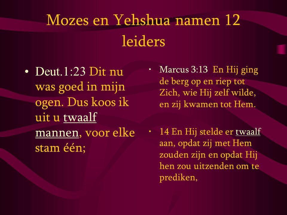 Mozes en Yehshua namen 12 leiders