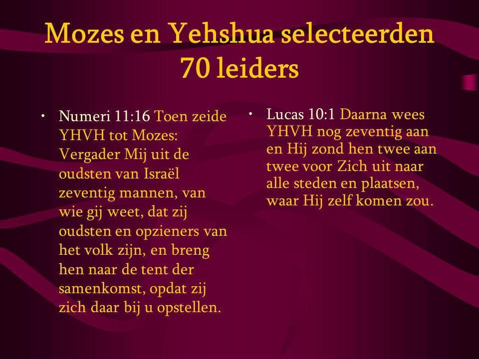 Mozes en Yehshua selecteerden 70 leiders