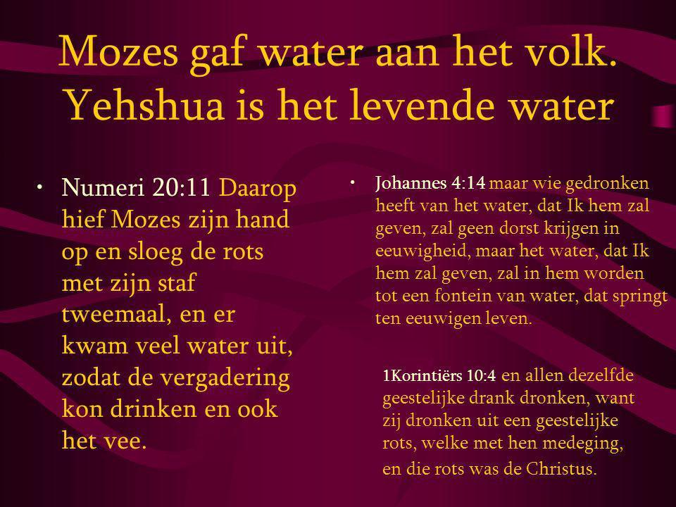 Mozes gaf water aan het volk. Yehshua is het levende water