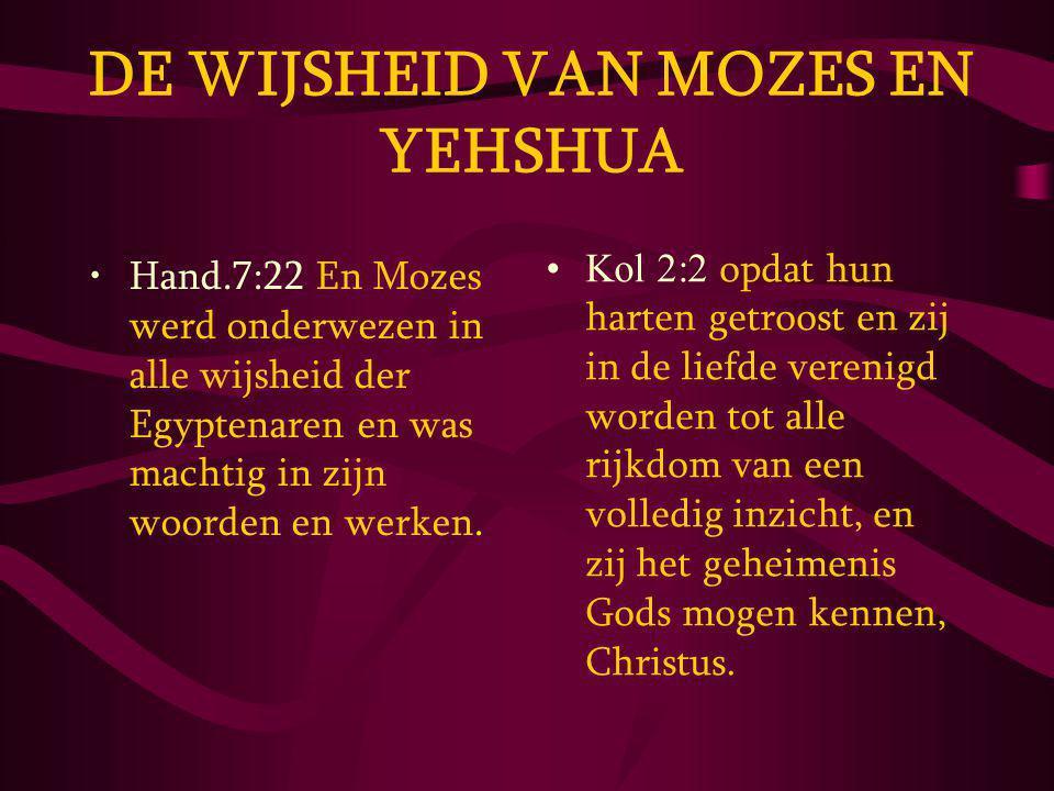 DE WIJSHEID VAN MOZES EN YEHSHUA