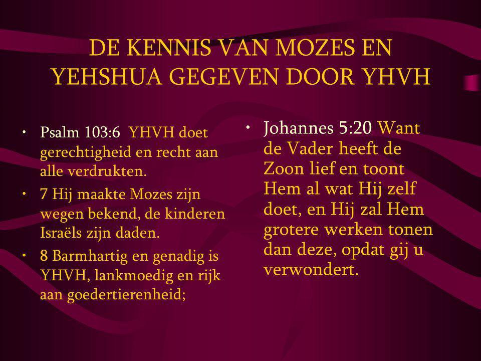 DE KENNIS VAN MOZES EN YEHSHUA GEGEVEN DOOR YHVH