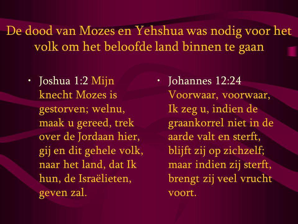De dood van Mozes en Yehshua was nodig voor het volk om het beloofde land binnen te gaan