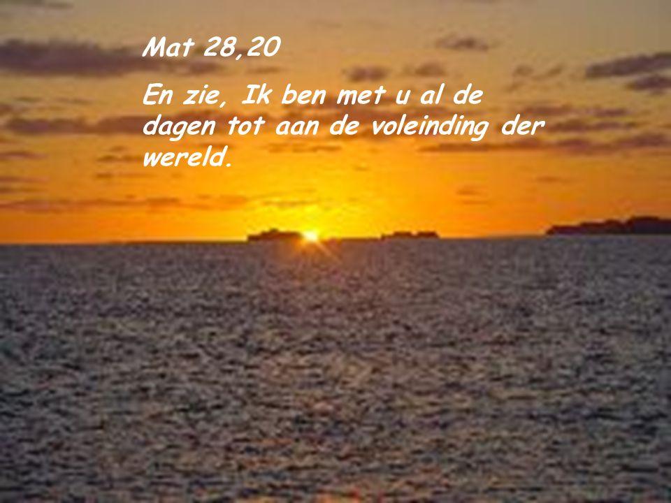 Mat 28,20 En zie, Ik ben met u al de dagen tot aan de voleinding der wereld.