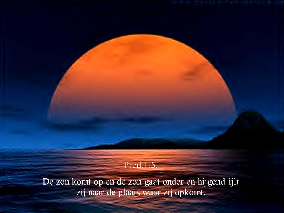 Pred.1:5, De zon komt op en de zon gaat onder en hijgend ijlt zij naar de plaats waar zij opkomt.