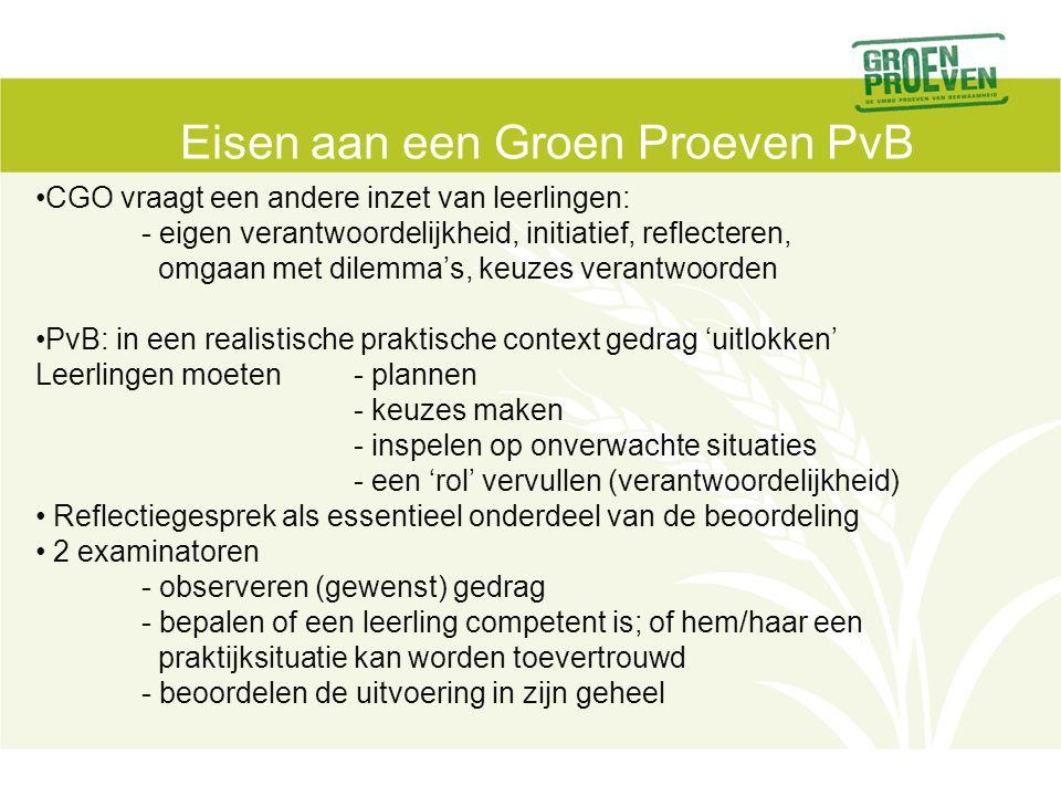 Eisen aan een Groen Proeven PvB