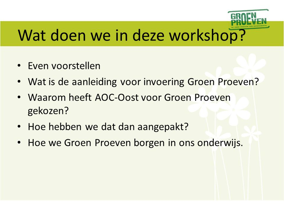 Wat doen we in deze workshop