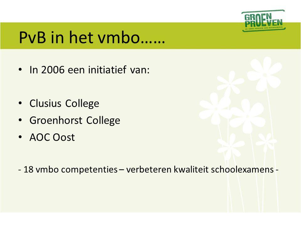 PvB in het vmbo…… In 2006 een initiatief van: Clusius College