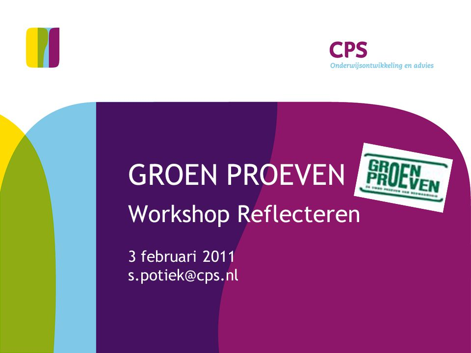 Workshop Reflecteren 3 februari 2011 s.potiek@cps.nl
