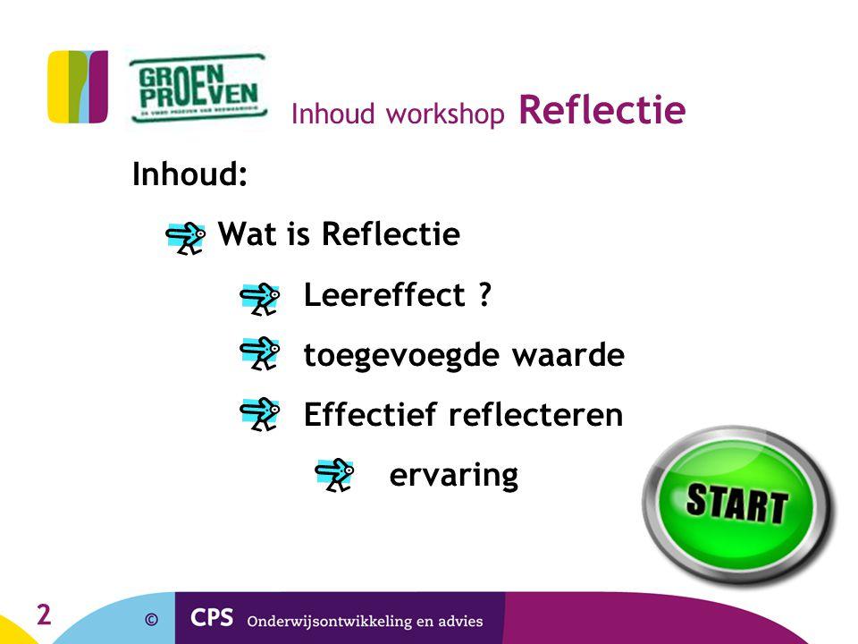 Inhoud workshop Reflectie