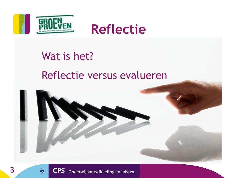 Reflectie Wat is het Reflectie versus evalueren