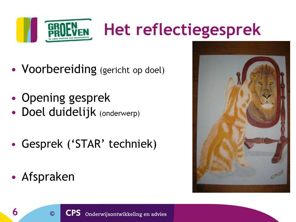 Het reflectiegesprek Voorbereiding (gericht op doel) Opening gesprek