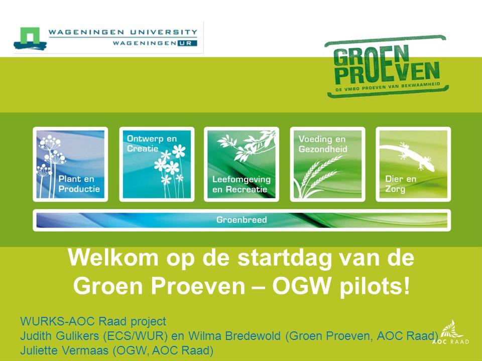 Welkom op de startdag van de Groen Proeven – OGW pilots!