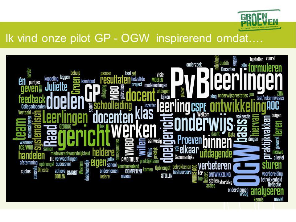 Ik vind onze pilot GP - OGW inspirerend omdat….