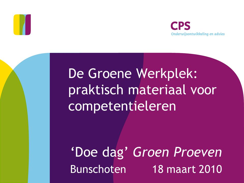 De Groene Werkplek: praktisch materiaal voor competentieleren