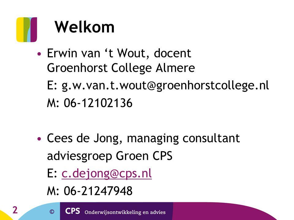 Welkom Erwin van 't Wout, docent Groenhorst College Almere