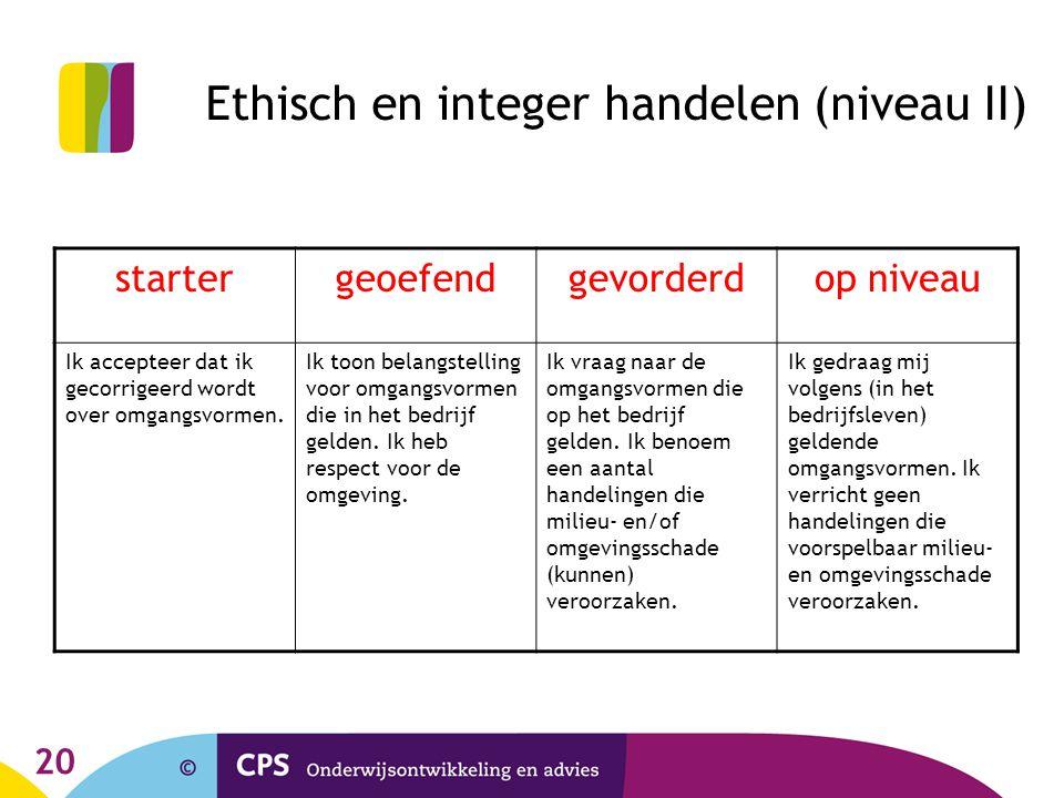 Ethisch en integer handelen (niveau II)